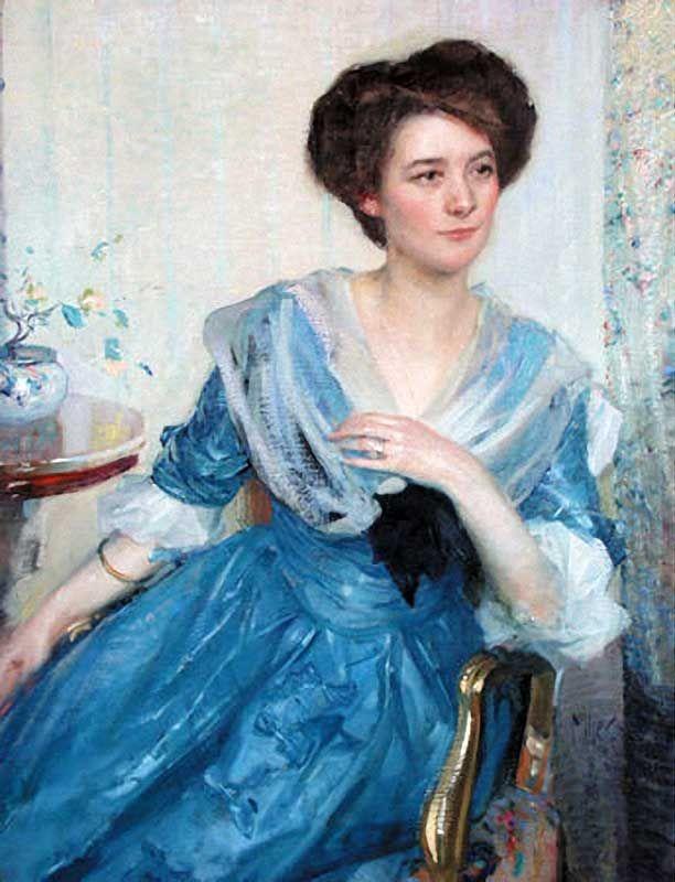 The Athenaeum - Woman in Blue Dress (Richard Edward Miller - circa 1909)