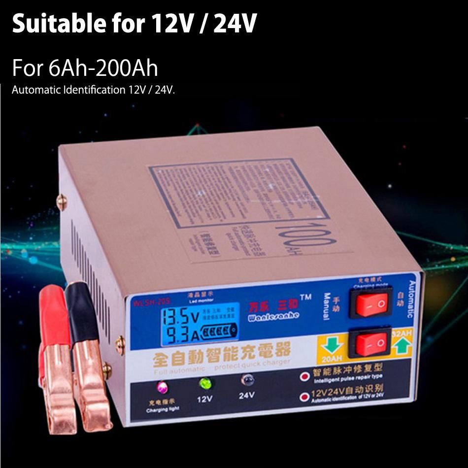 Newest 110v 220v Full Automatic Electric Car Battery Charger Intelligent Pulse Repair Type Battery Charger 12v 24v 100ah With Images Battery Charger 12v Electric Car Charger Car Battery Charger