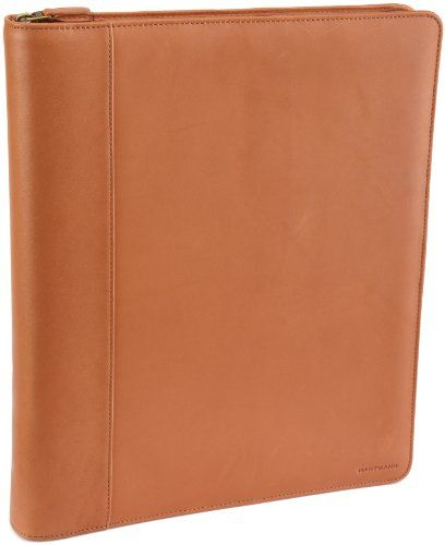 Hartmann Belting Leather Zip 3-Ring Binder,Natural, Size