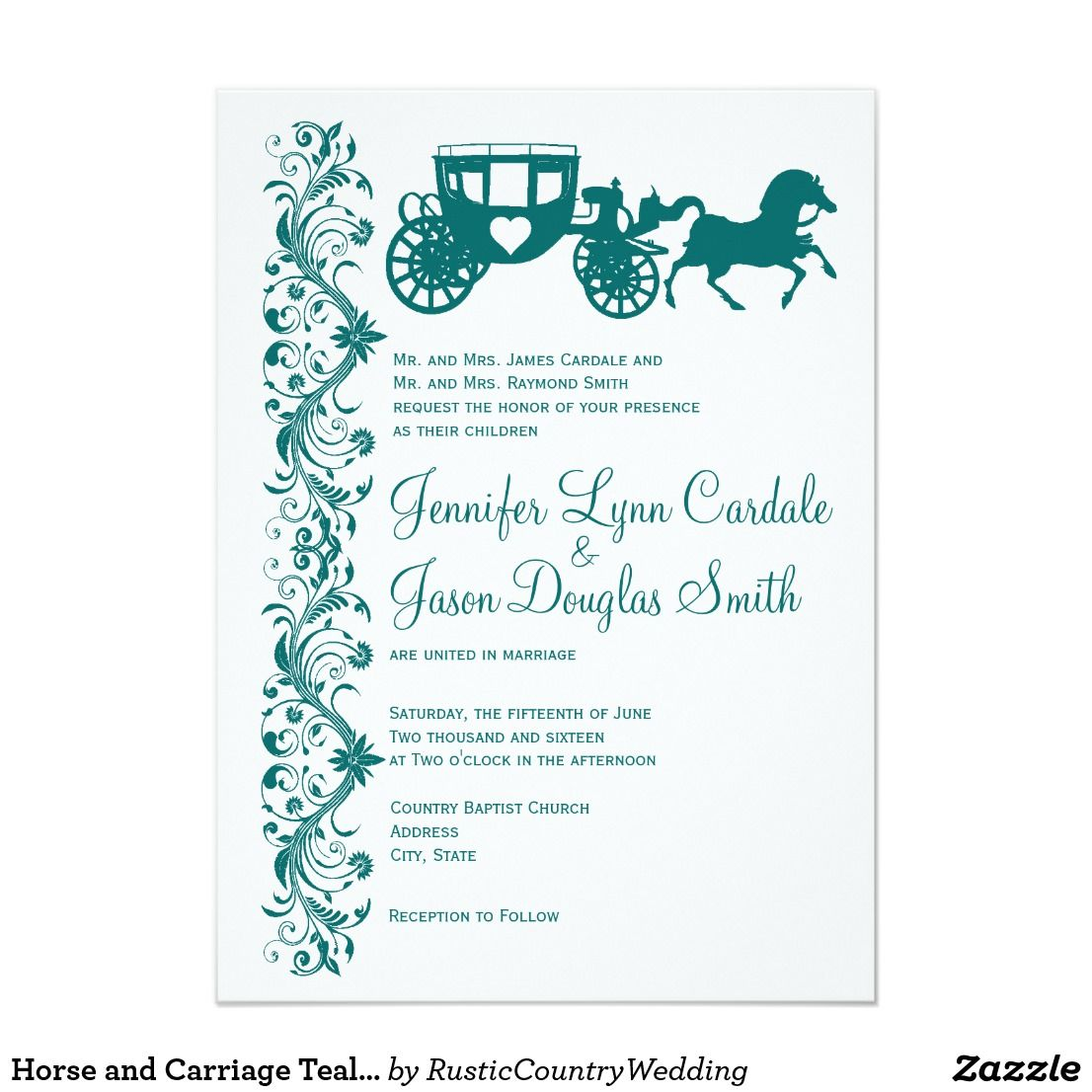 Horse and Carriage Teal Wedding Invitations | Wedding & Bridal ...