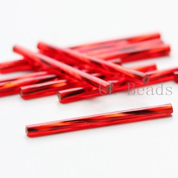 Red 30mm 30G Czech Silver Lined Twisted Bugles