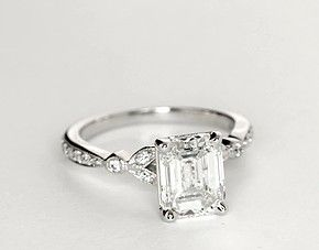 Petite Vintage Pave Leaf Diamond Engagement Ring In 14k White Gold 1 4 Ct