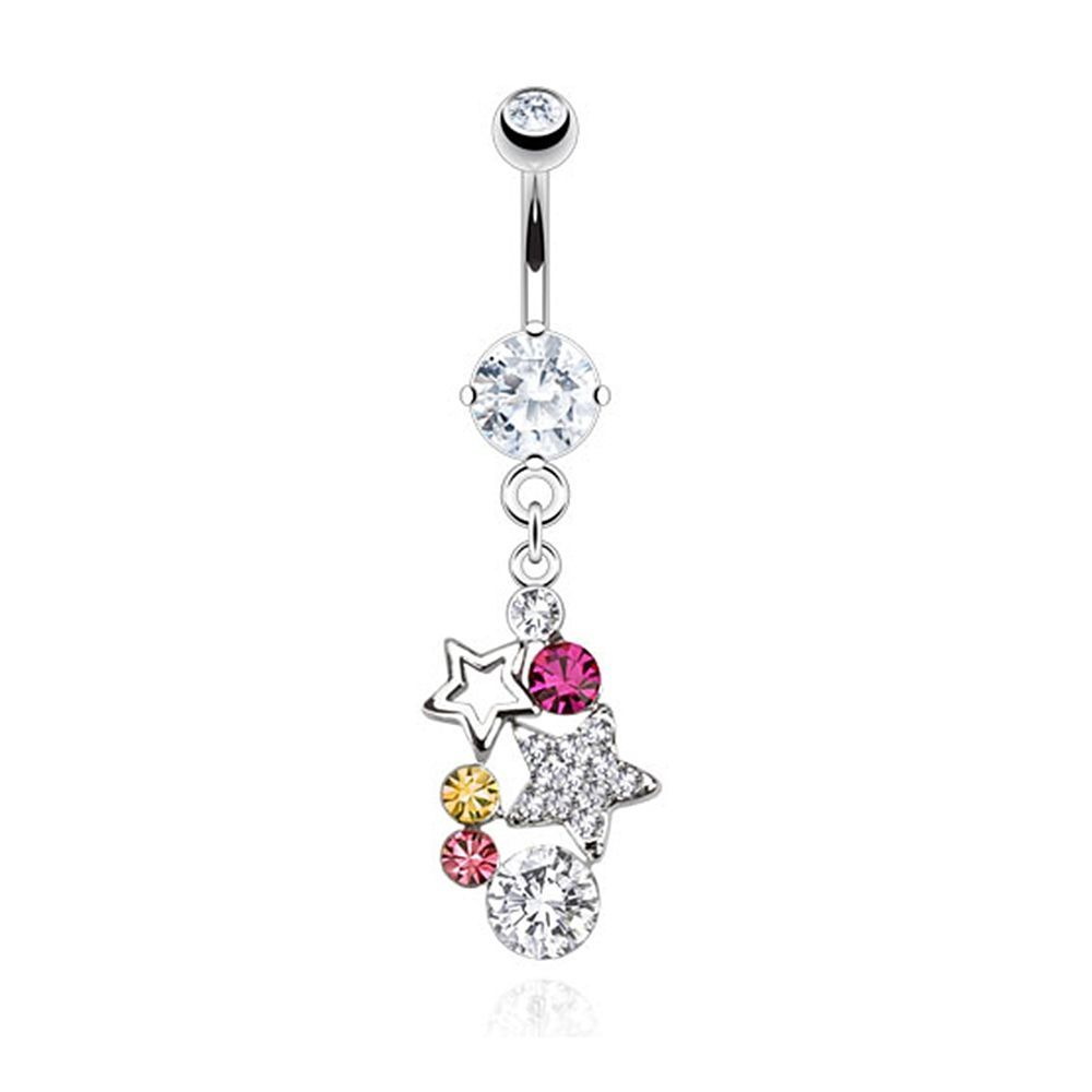 Belly button piercing jewellery  Stars with Multi Paved Gems Dangle Navel Belly Button Ring L