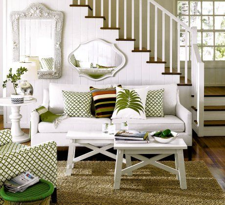 I love this living room SO MUCH. Love the white walls with green ...