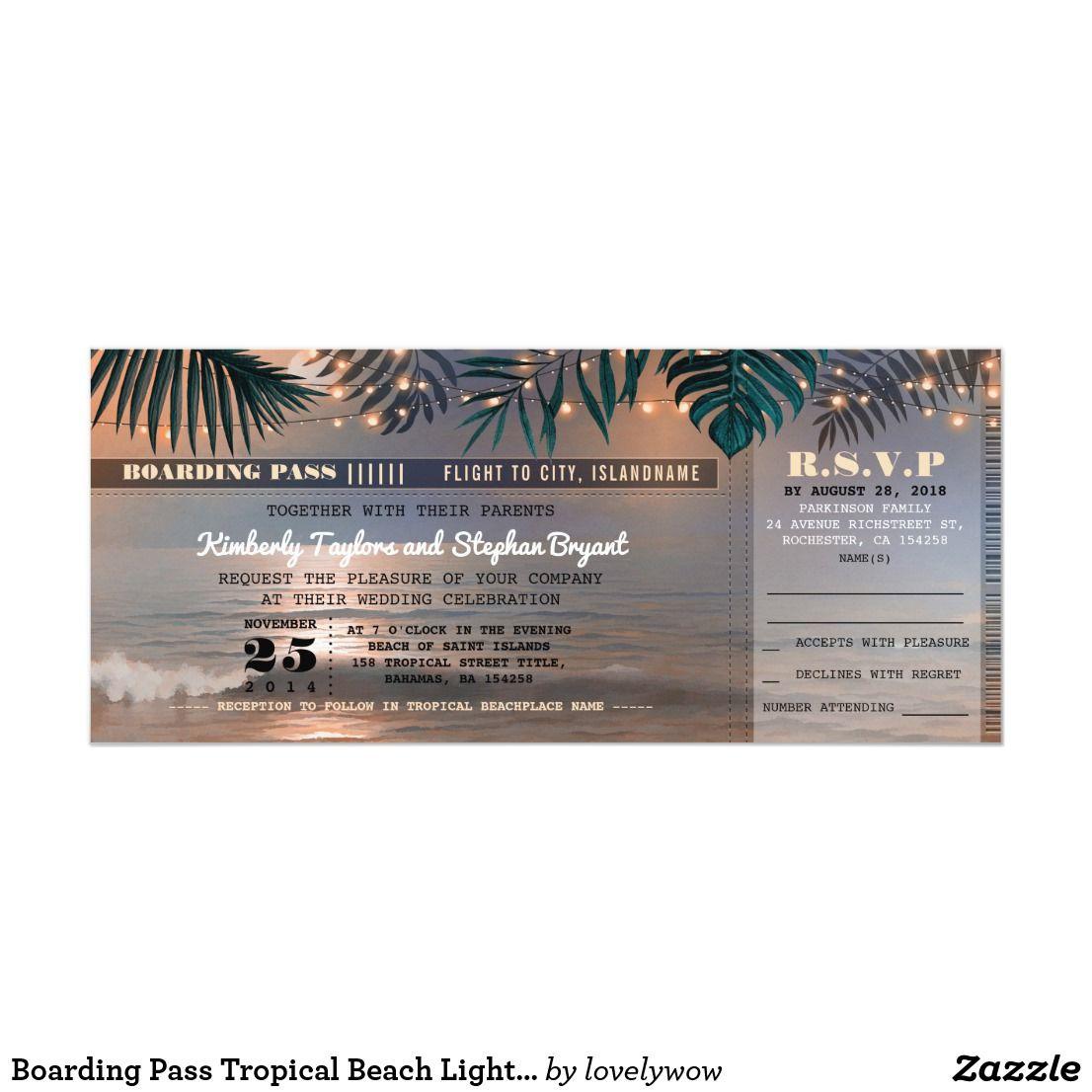 Boarding Pass Tropical Beach Lights Wedding Ticket Invitation
