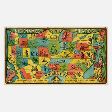 Nicknames Of The States map   America discovered   Pinterest