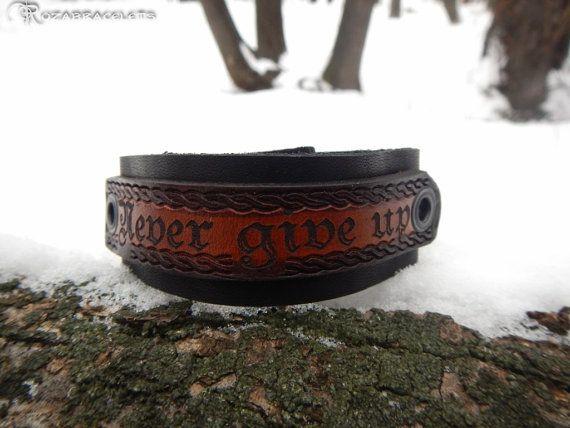 Black leather bracelet with engraving and by RozaBracelets on Etsy