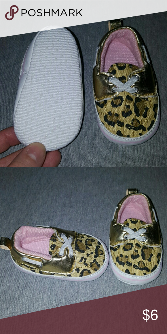 No longer need Leopard print, gold,  pink and white size 1 baby boat shoes Shoes Baby & Walker