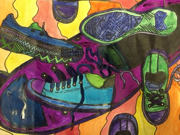 Contour Line Drawing Shoes Lesson Plan : 6th grade contour line shoes from observation pencil watercolor