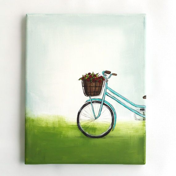 Original Acrylic Painting Canvas Wall Art Turquoise Bike Flower ...