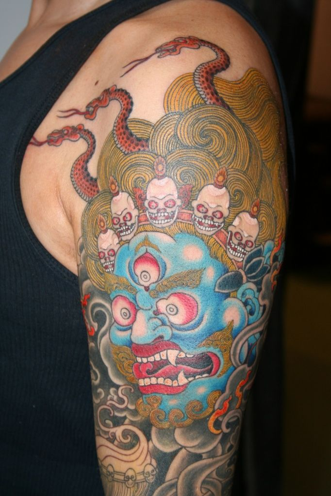 a3c1b2ea8 mahakala sleeve (in progress), yoni zilber Tibetan Tattoo, Tibetan Art, Sin