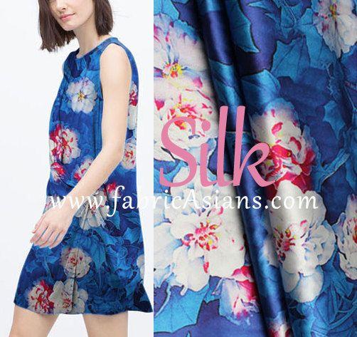 Blaue Blumen Seide. Blaue Blumen Stoff. Seide zu dehnen. SSB100229 ...