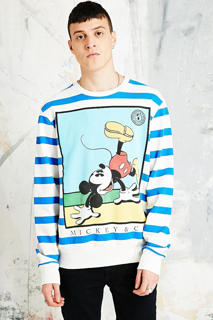 Mickey Mouse Sweatshirt in Blue and White Stripes