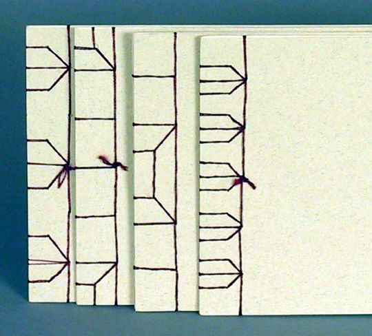 I've got to learn this binding stitch - Stab Binding, from Cherryl Moote's site.
