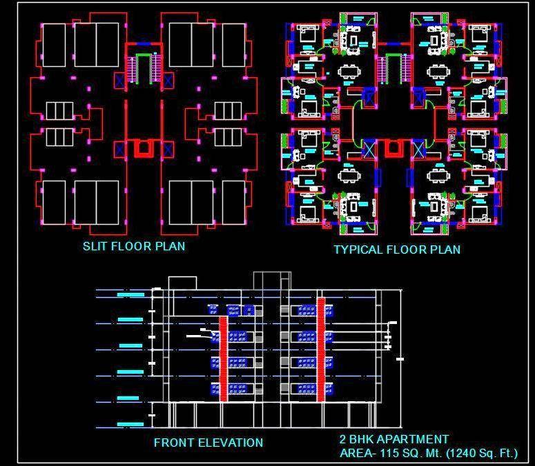 2 Bedroom Apartment Building Design Autocad Architecture