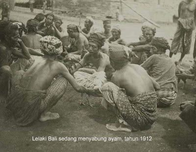 Balinese man in cock fighting area 1912. A gambler's hobby until now. Cock fighting area is a fun place for them.