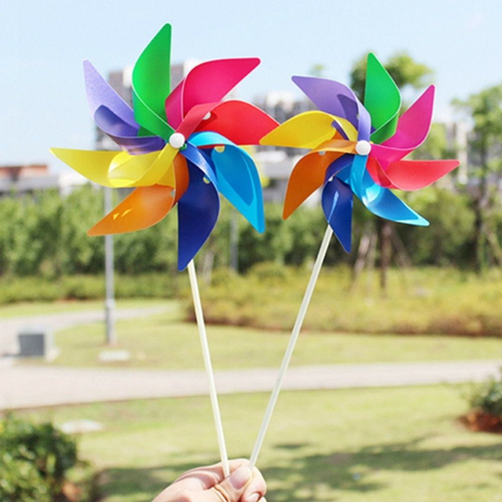 Child Lovely Rainbow Windmill Kid Handmade Wind Spinner Garden Yard Party Camping Wind Spinner Ornament Decoration Kids Toy New Wind Spinners Wind Spinners Diy Yard Party