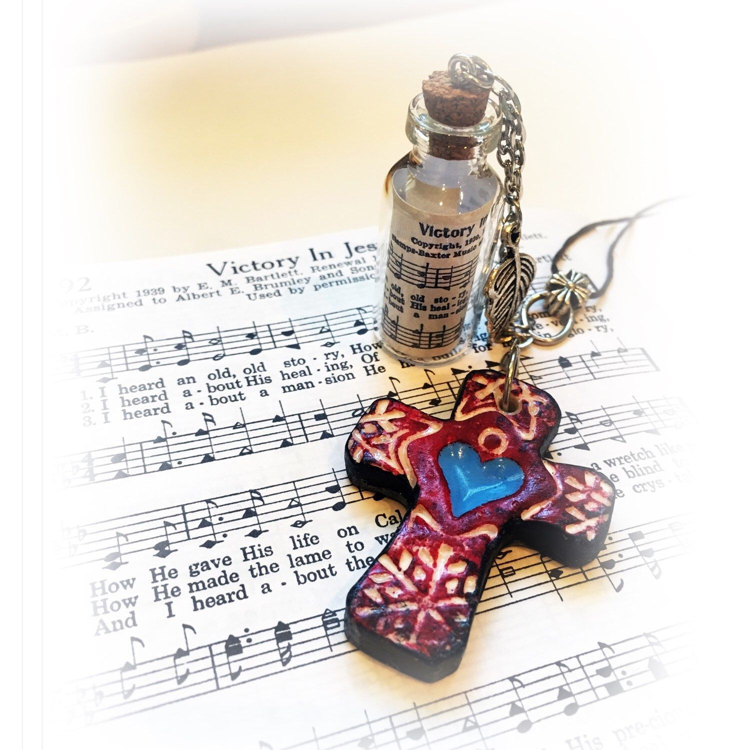 This lovely Christian gift for men or women comes wrapped with a handmade ornament and includes a hymn greeting card with envelope!