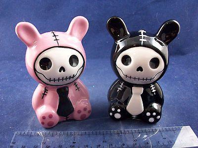 NIB-Pink-amp-Black-Bun-Bun-Bunny-Furrybones-Salt-amp-Pepper-Shakers-NN1604B29