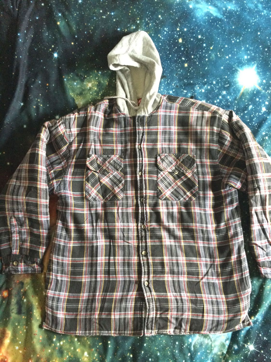 Flannel jackets with hood  Vintage Wrangler Brand Thick Flannel Button Up Jacket by