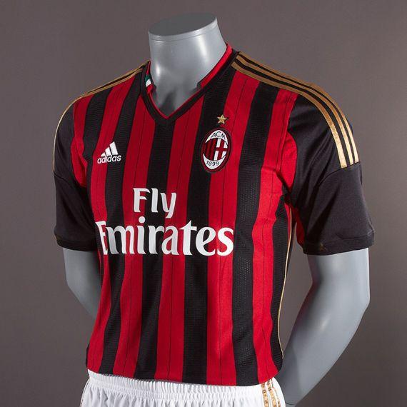 Football Shirts Adidas Ac Milan 13 14 Home Replica Short Sleeve Jersey Replica Clothing Black Red Pro Direct Soccer Milan