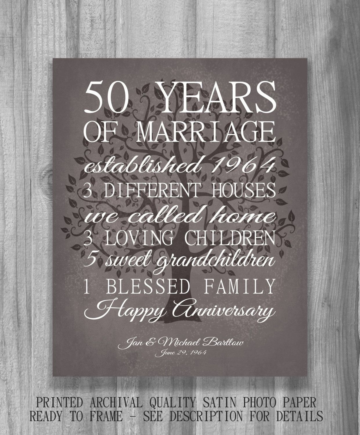 Unique Golden Wedding Anniversary Gifts: 50th Anniversary Gift For Parents Keepsake 50 Year