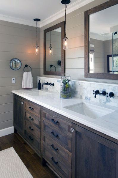 You Also Can Make The Area Look Rustic With The Help Of Accessories Similar To A Woven Rug A Can In 2021 Vanity Backsplash Amazing Bathrooms Simple Bathroom