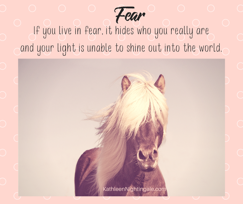 Beautiful horse with gorgeous mane. Fear Quote.