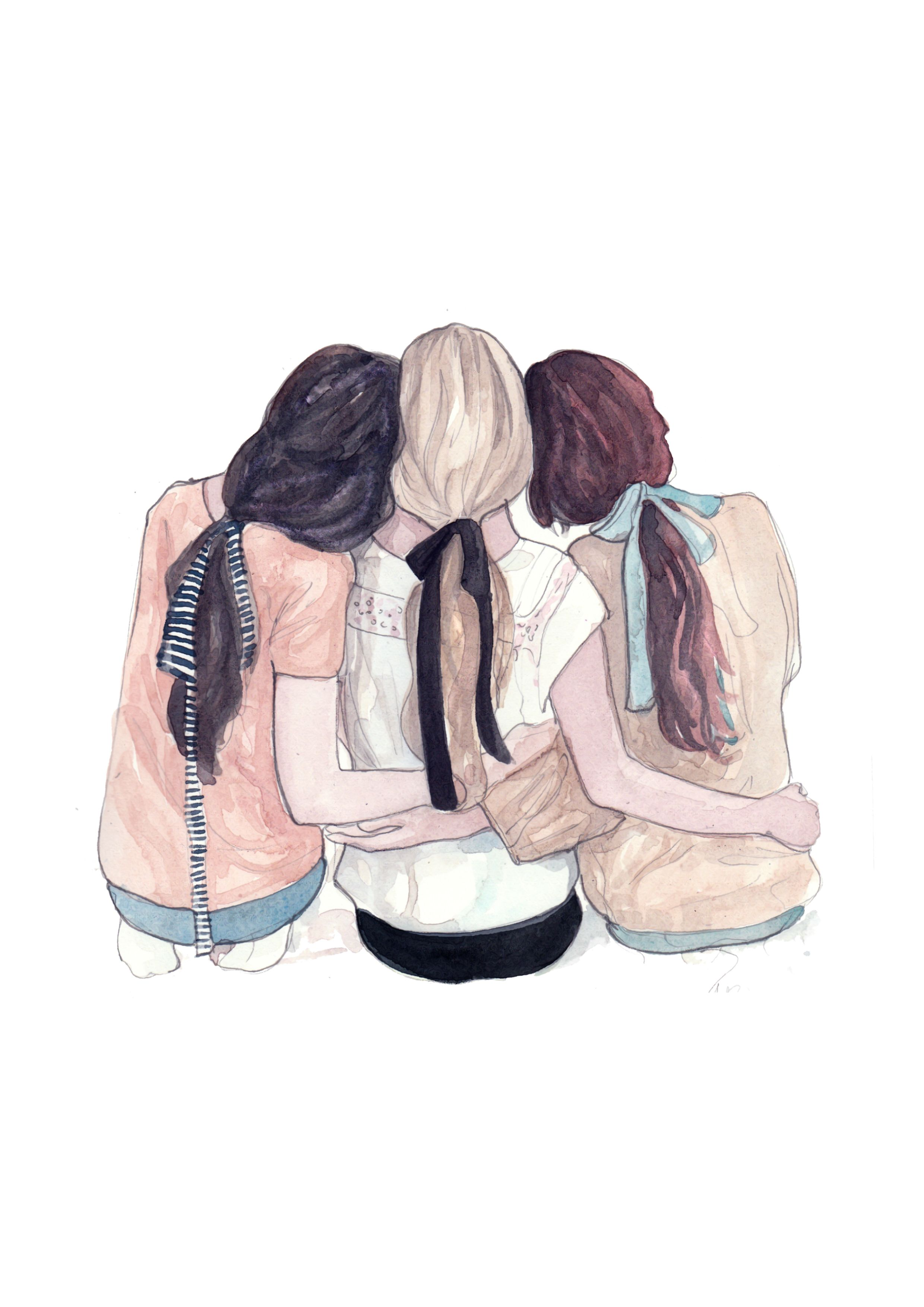 Best Friends Trio By Pinodesk Fashionillustrations Hairstyle