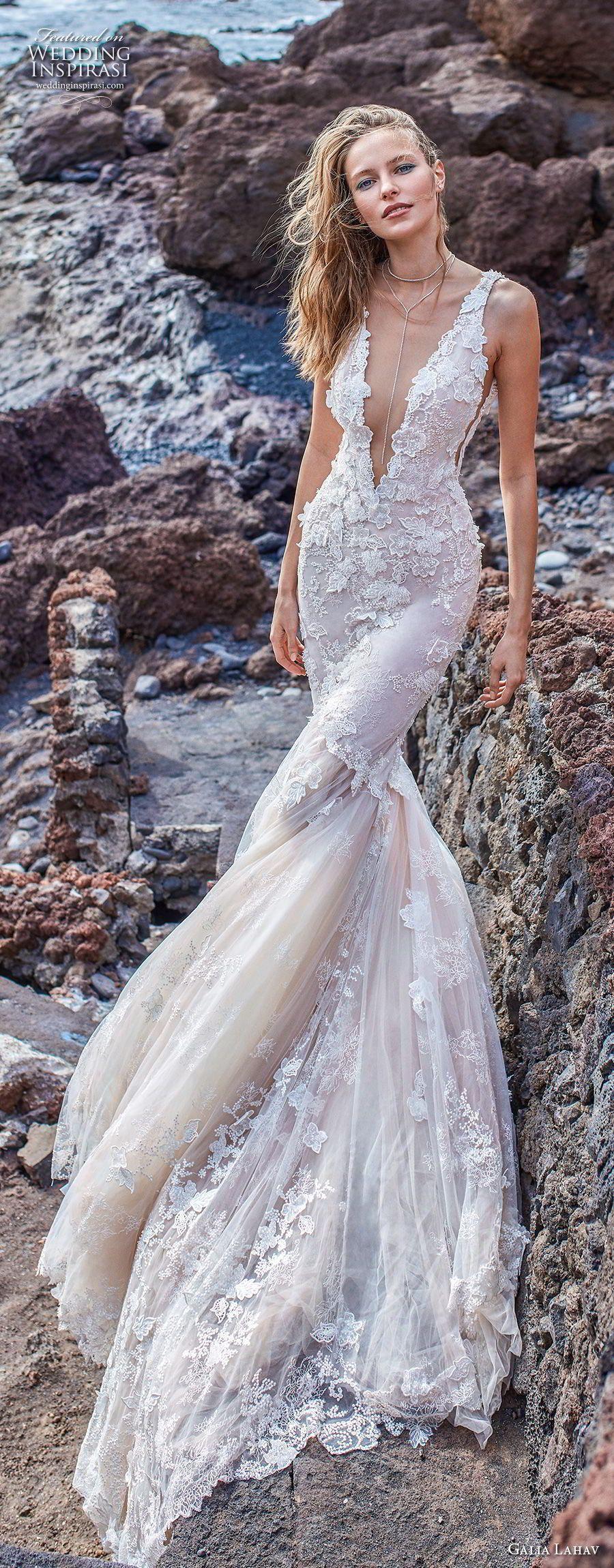 Galia lahav gala bridal sleeveless deep v neck heavily