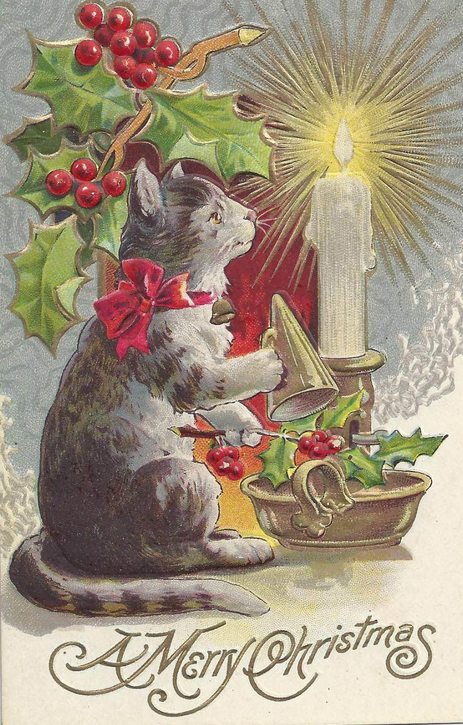 "Vintage Cat Christmas Card ""A Merry Christmas"