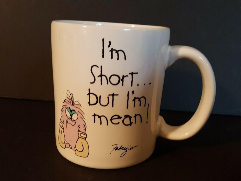 Vintage Message Mugs I M Short But I M Mean Coffee Mug Mm Coffee Mugs Green Coffee Cups Thermos Coffee Mug
