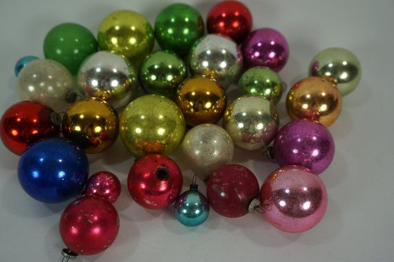 Vintage Christmas Ornaments, Mixed Lot of 27 SMALL Christmas Balls, Colorful Glass Tree Balls, Retro 1950s-60s,  FREE 1st Class Shipping