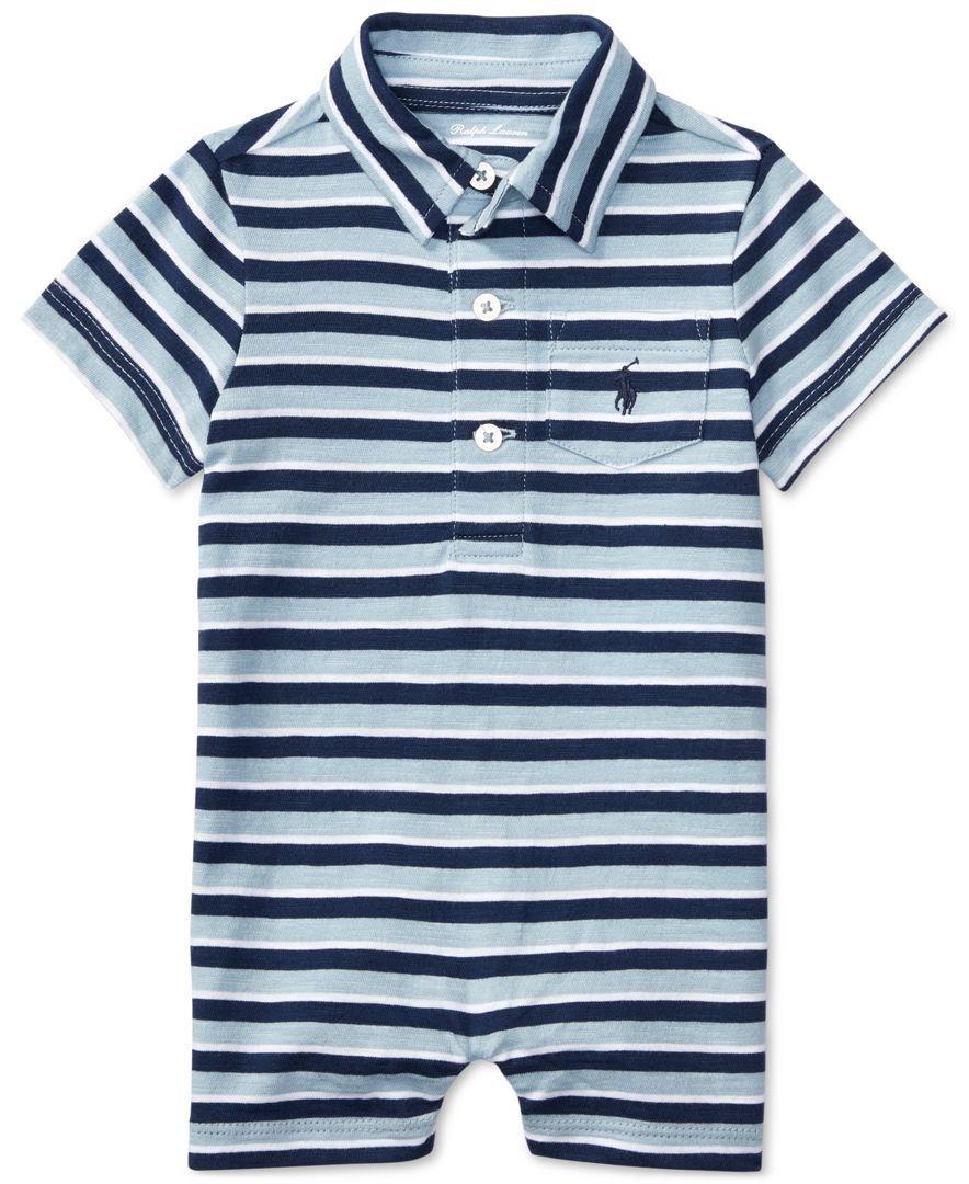 9895a8fa2 Ralph Lauren Striped Cotton Polo Romper, Baby Boys (0-24 months ...
