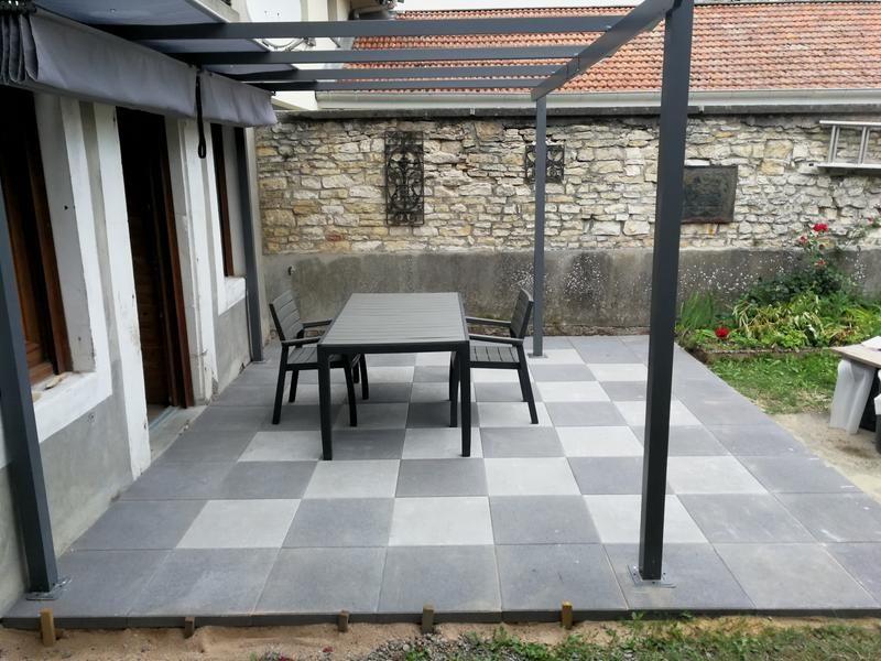 Dalle béton Provençale, gris foncé, L50 x l50 cm x Ep50 mm - Dalle De Beton Exterieur