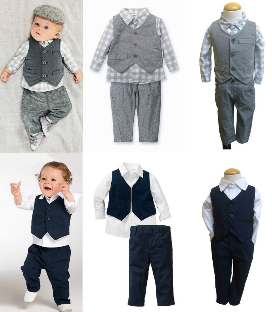 Toddlers Boy Formal Pageant Suit, Shirt Pants Waistcoat All in a Set ...