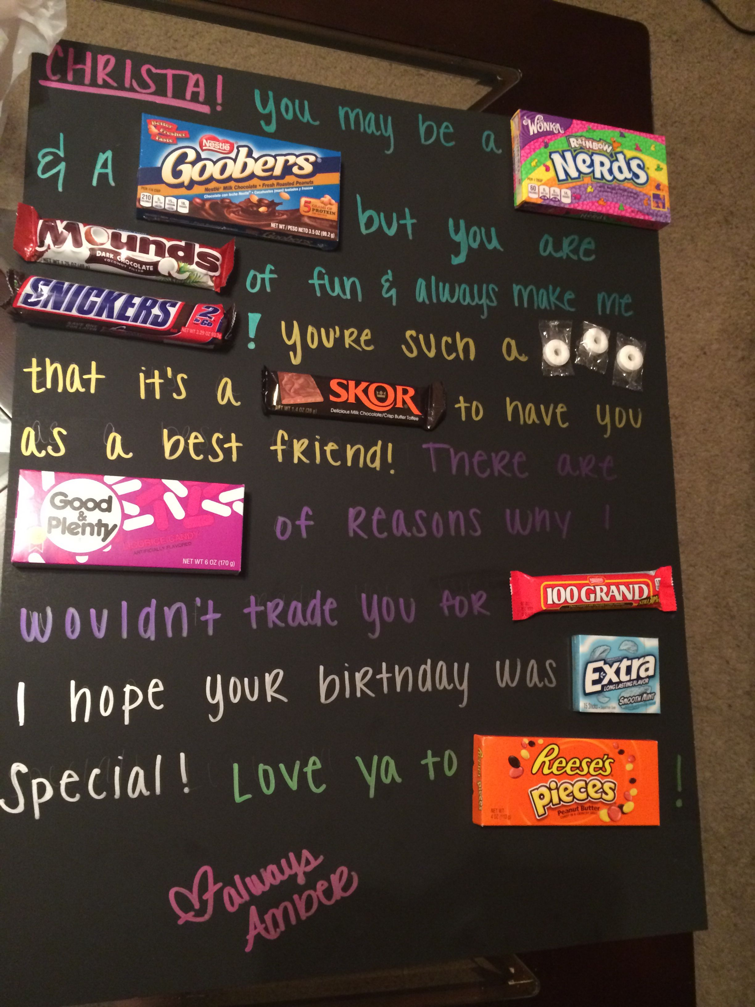 Homemade candy card. bestfriends Birthday candy