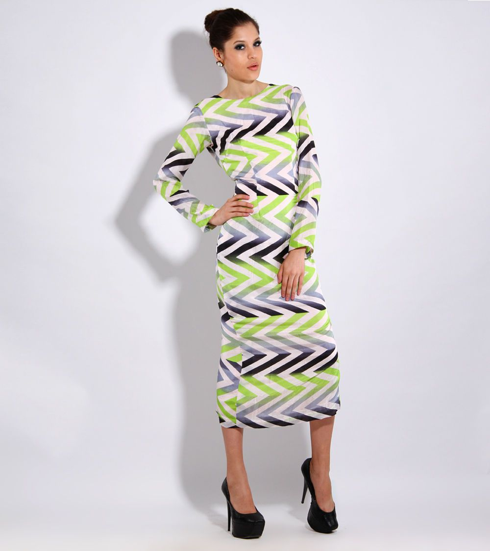 Lime Green Grey & Black #Habotai #Silk #Long #Dress by #Debarun at #Indianroots Was  $420 | Is $294
