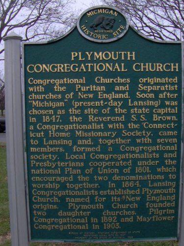 Plymouth Congregational Church Michigan Historical Marker Historical Marker Plymouth Historical