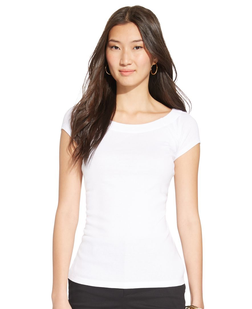 Lauren Ralph Lauren Short-Sleeve Boat-Neck Top