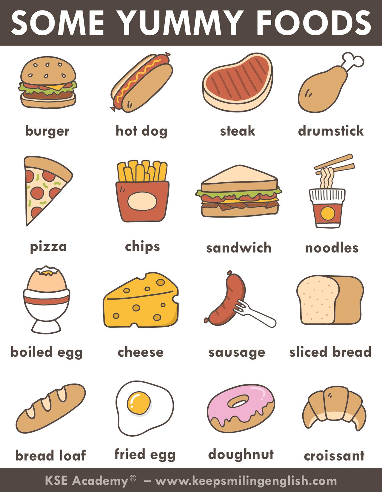Just Some Yummy Foods Food Vocabulary Yummyfood