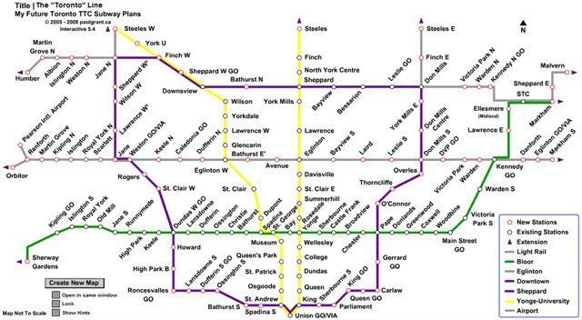TTC 2040 Map Transit Pinterest City
