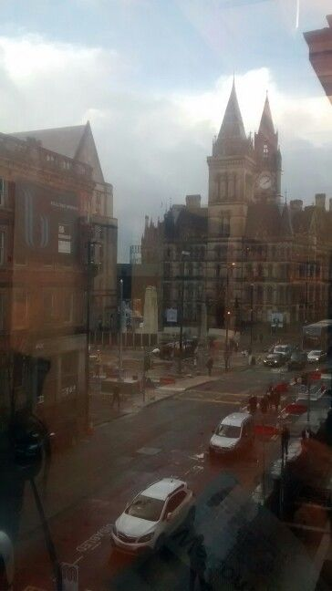 Manchester city scape showing thr contrast between traditional architecture and modern builds