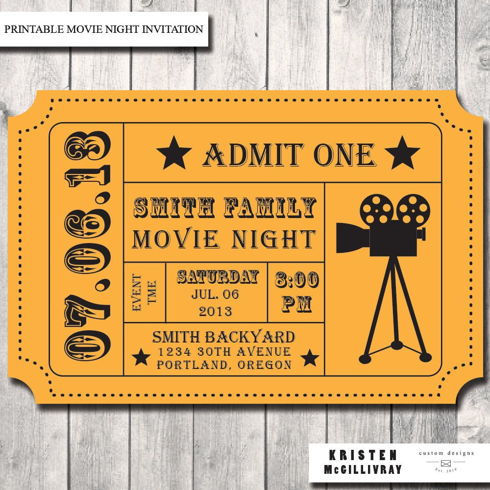 Movie Night Party Invitation, Admission Ticket, Ticket Invitation ...