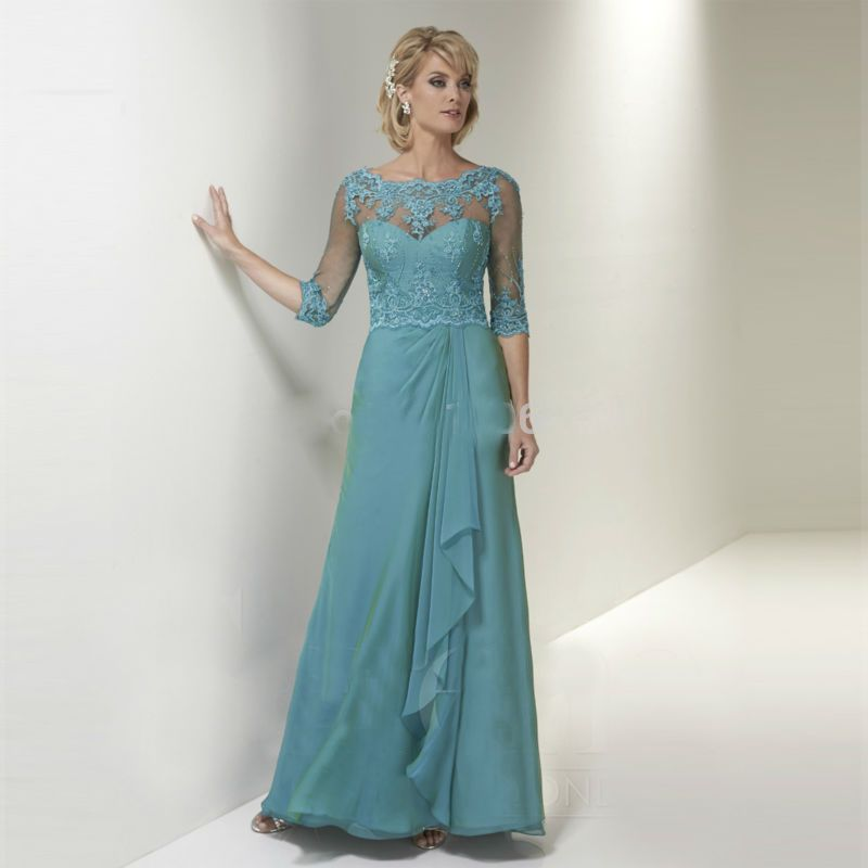 Click to Buy << Elegant Turquoise Lace Mother of the Bride Dresses ...
