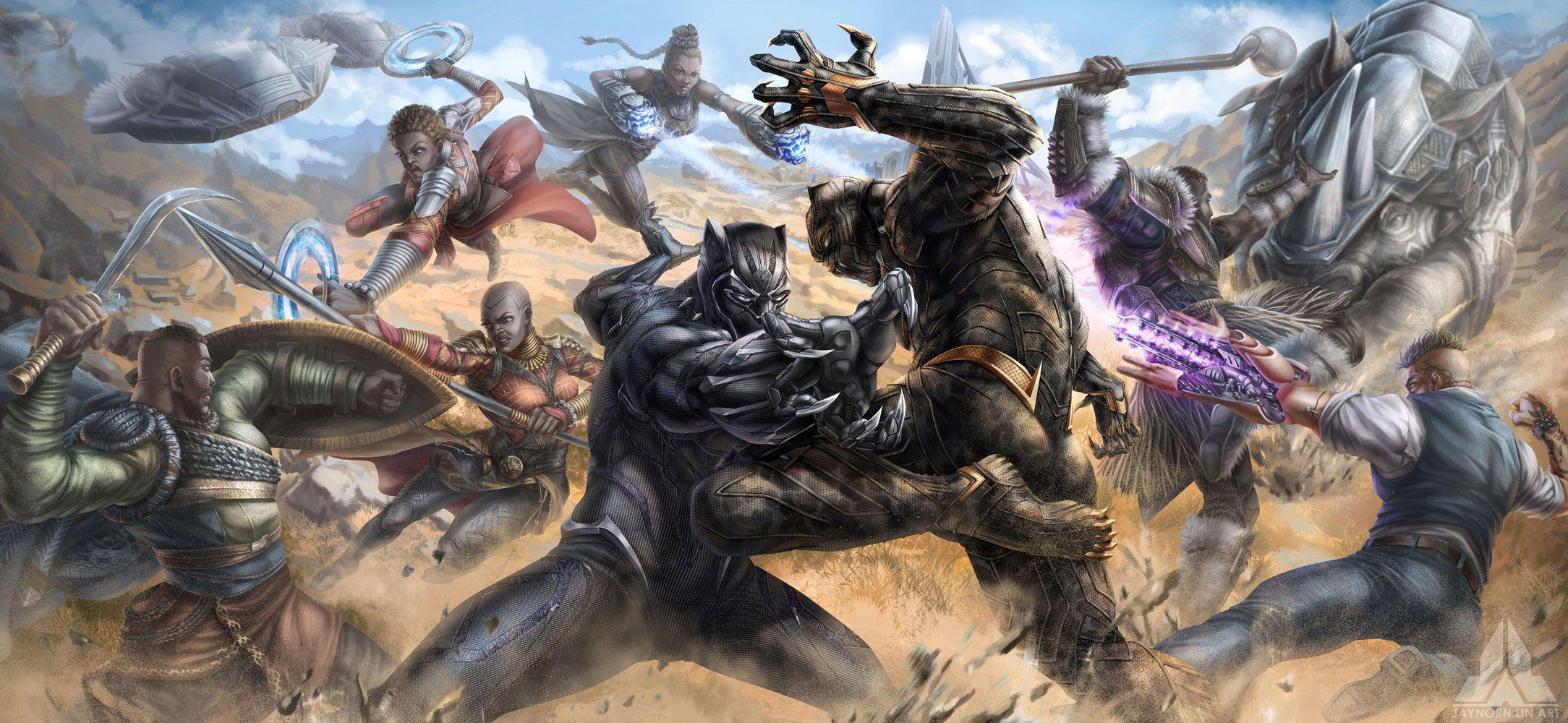 Black Panther T Challa Killmonger Nakia Okoye W Kabi Shuri M Baku Ulysses Klaue Rhinoceros Marvel Fana Black Panther Panther Pictures Avengers Cartoon