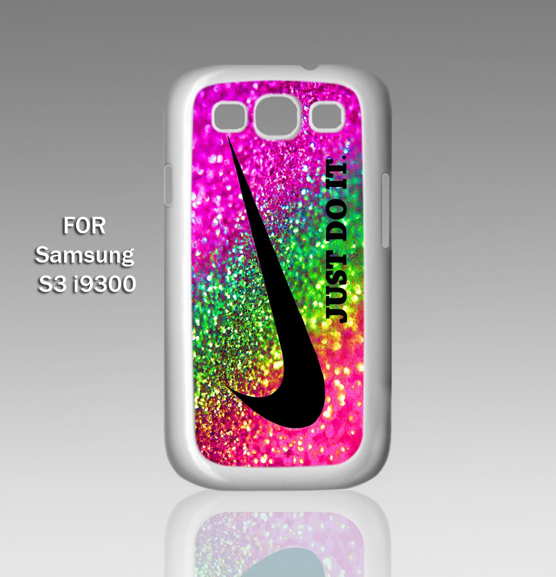 Nike just do it rainbow sparkle glitter printed case