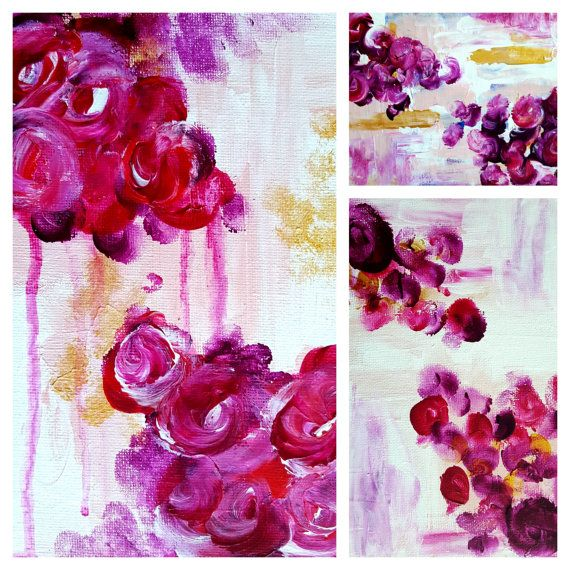 Modern Art Mini Series  Magenta & Gold 5x7 by CorinnaMaggyArts