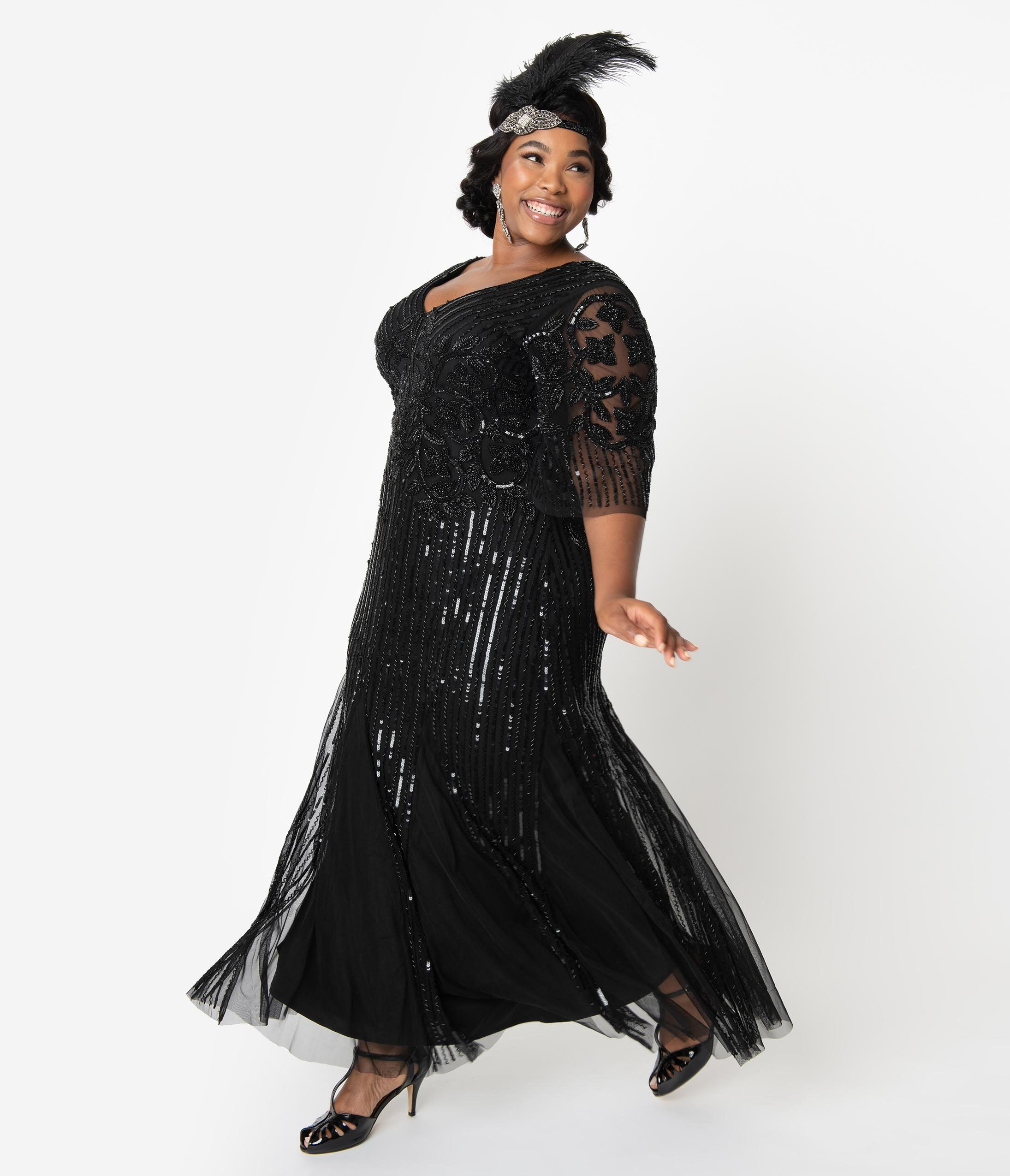 1920s Downton Abbey Inspired Clothing Plus Size Flapper Dress Plus Size Retro Dresses Plus Size Vintage Dresses [ 2550 x 2190 Pixel ]