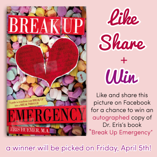 "Win an autographed copy of my book, Break Up Emergency! ""Like"" and ""Share"" this image on my Facebook page here: https://www.facebook.com/photo.php?fbid=474892019249189=a.452280974843627.108775.440505059354552=1 #BreakUpEmergency #Contest #LoveEtc #Facebook #Book #Love #Relationships #Advice #SelfHelp #BreakUps #Boyfriend #Girlfriend"